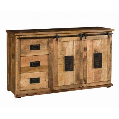 Bahut 2 portes coulissantes en bois de manguier