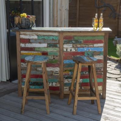 Bar en bois de bateau teck recyclé coloré