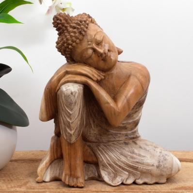 Bouddha penseur en suar 30 cm
