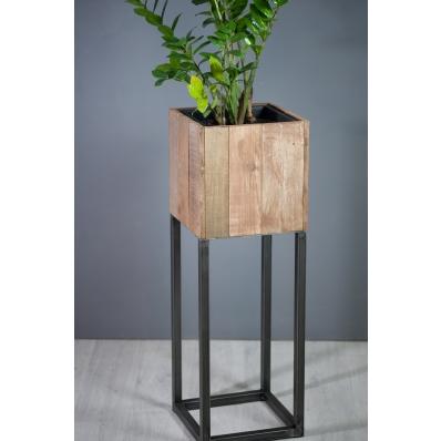 Cache-pot carré 30 cm en métal et bois exotique