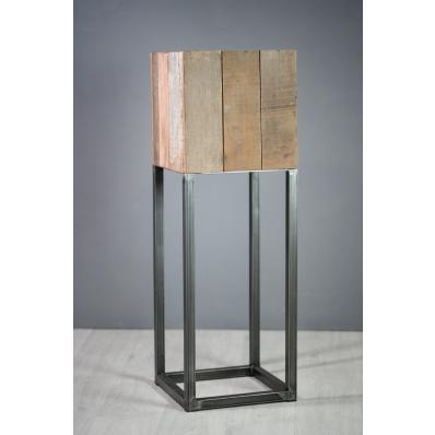 Cache-pot carré 40 cm en métal et bois exotique