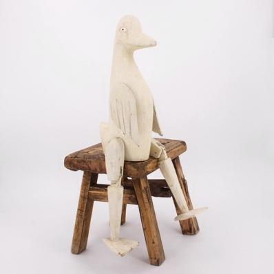 Canard articulé en albizia à poser blanc