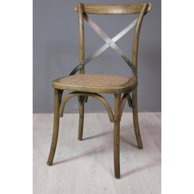 Chaise bistrot en chêne et métal