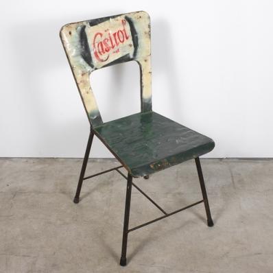 Chaise en métal recyclé Castrol