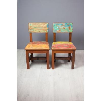 Chaise enfant colorée en teck