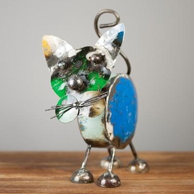 Chat décoratif en métal recyclé