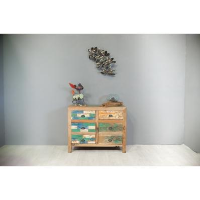 Commode 6 tiroirs en bois de bateau recyclé