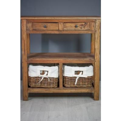 Console en bois exotique 2 tiroirs 2 paniers