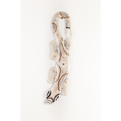 Gecko en bois peint en blanc