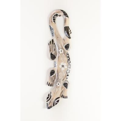 Gecko en bois peint noir et blanc