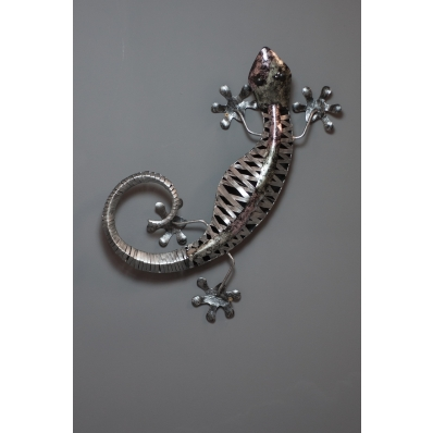 Gecko en métal irisé 60 cm