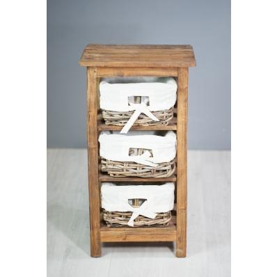 Meuble colonne en bois exotique 3 paniers