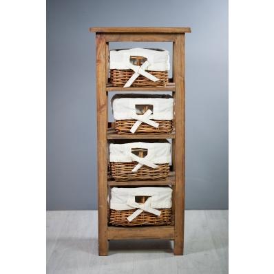 Meuble colonne en bois exotique 4 paniers