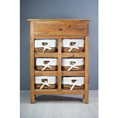 Meuble d'appoint en bois exotique 6 paniers