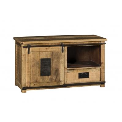 Meuble tv 1 porte coulissante sur barre d'acier à l'aide de galets en métal 1 tiroir poignées en métal 1 niche pour rangement appareils