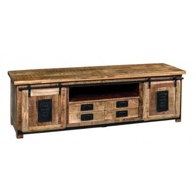 Meuble TV en bois de manguier et métal 180 cm