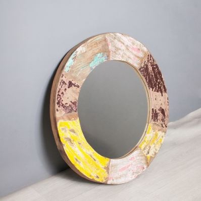 Miroir en bois de pirogue recyclée Ø 60 cm