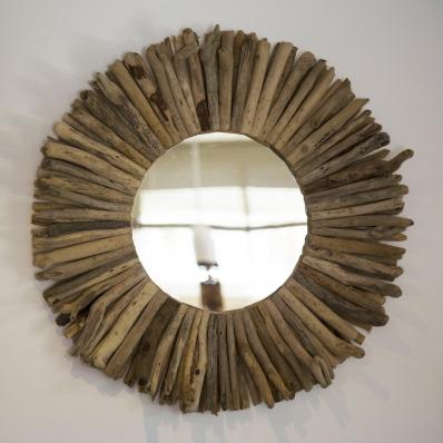Miroir rond en bois flotté