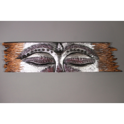 Panneau mural bois sculpté Les yeux de Bouddha