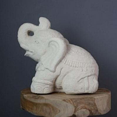 Petite statue éléphant en ciment 30 cm blanc