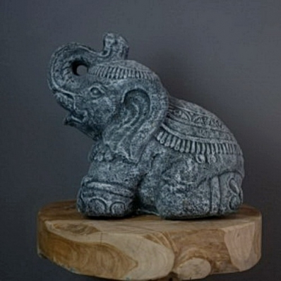 Petite statue éléphant en ciment 30 cm gris