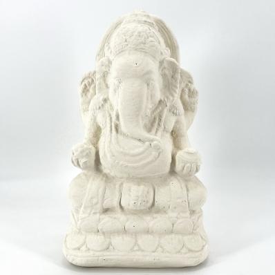 Petite statue Ganesh en ciment 40 cm blanc