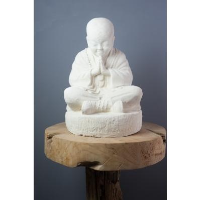 Petite statue moine Shaolin blanc 37 cm