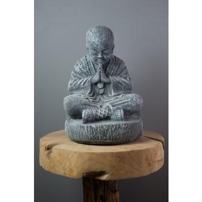 Petite statue moine Shaolin gris 37 cm