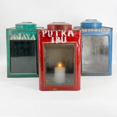 Photophore boîte en métal coloré
