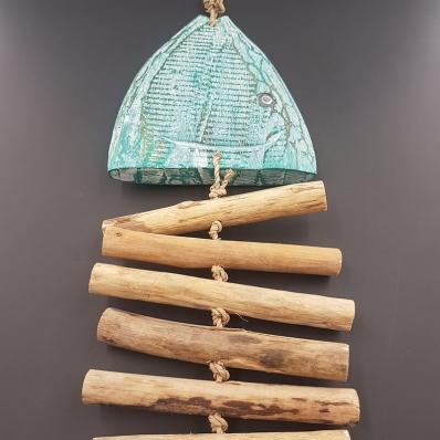 Poisson arête bois flotté Vert (Corde fibre naturelle)