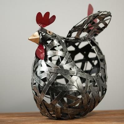 Poule panière en métal tressé 30 cm
