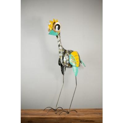 Sculpture oiseau en métal jaune et vert