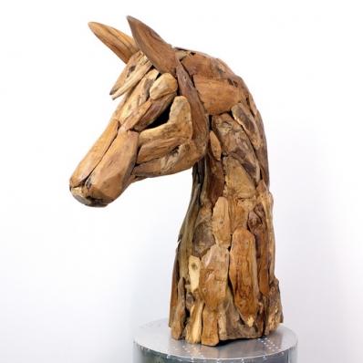 Sculpture tête de cheval racine de teck