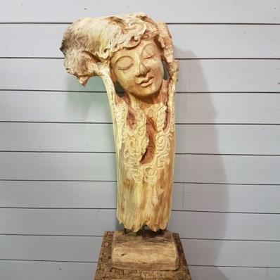 Sculpture visage de Bouddha en albizia