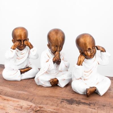 Set 3 statuettes jeunes moines de la sagesse 20 cm