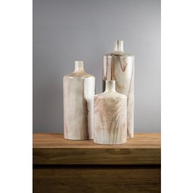 Set de 3 bouteilles décoratives en bois exotique