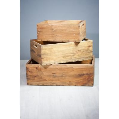 Set de 3 caisses empilables en bois exotique