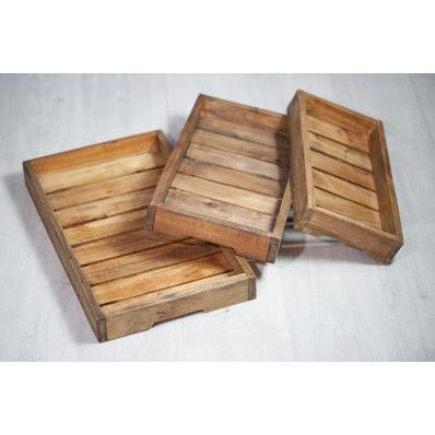 Set de 3 plateaux empilables en bois exotique naturel