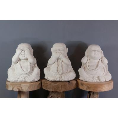 Set de 3 statues Moine de la sagesse 40 cm blanc