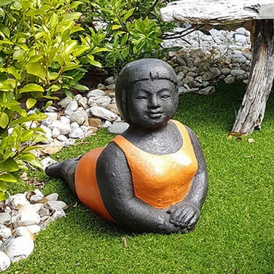 Statue baigneuse position de yoga Panca orange