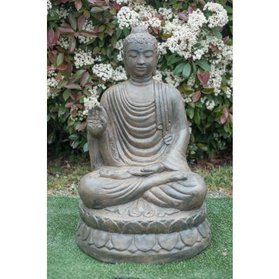 Statue Bouddha abhaya-mudra 100 cm marron antique