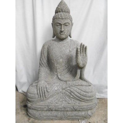 Statue Bouddha abhaya mudrã en pierre 100 cm