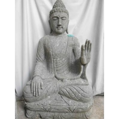 Statue Bouddha abhaya mudrã en pierre 105 cm