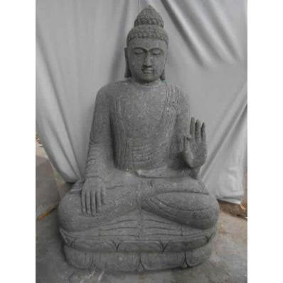 Statue Bouddha abhaya mudrã en pierre 120 cm