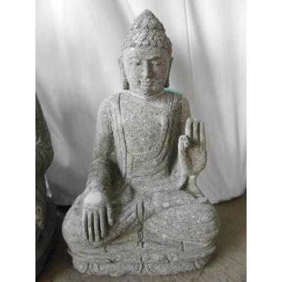 Statue Bouddha abhaya mudrã en pierre 52 cm