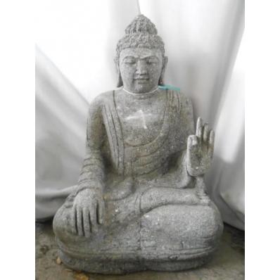 Statue Bouddha abhaya mudrã en pierre 60 cm