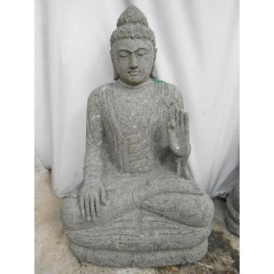 Statue Bouddha abhaya mudrã en pierre