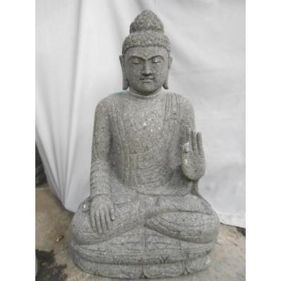 Statue Bouddha abhaya mudrã en pierre 84 cm