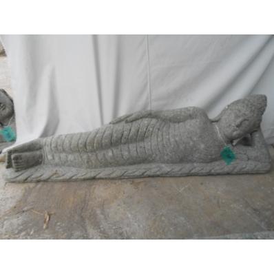 Statue Bouddha allongé en pierre 120 cm