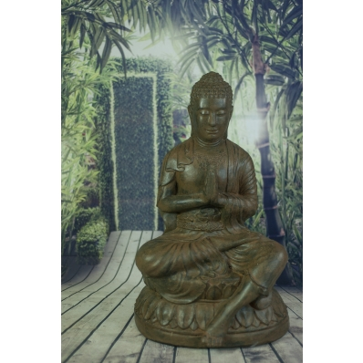 Statue Bouddha anjali-mudra 70 cm marron antique